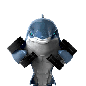 oceanwp shark mascot lifting weights on transparent background