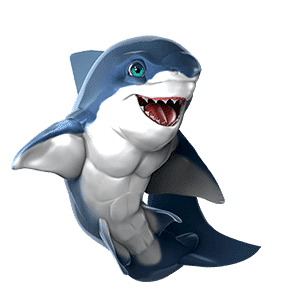 oceanwp shark mascot side pose on transparent background