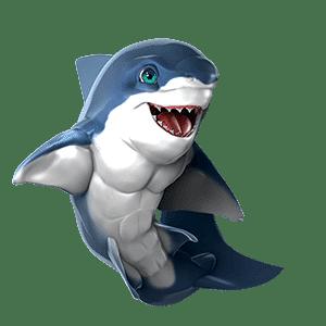 oceanwp shark mascot side pose on transparent background
