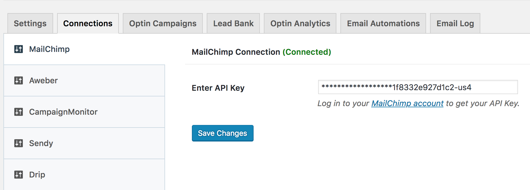 MailChimp settings in MailOptin