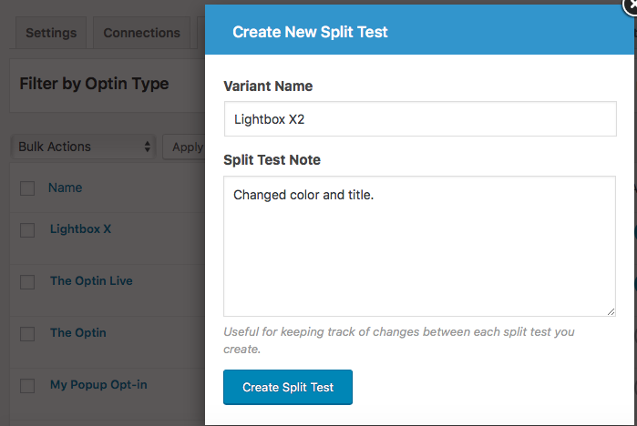 Setting up A/B split test