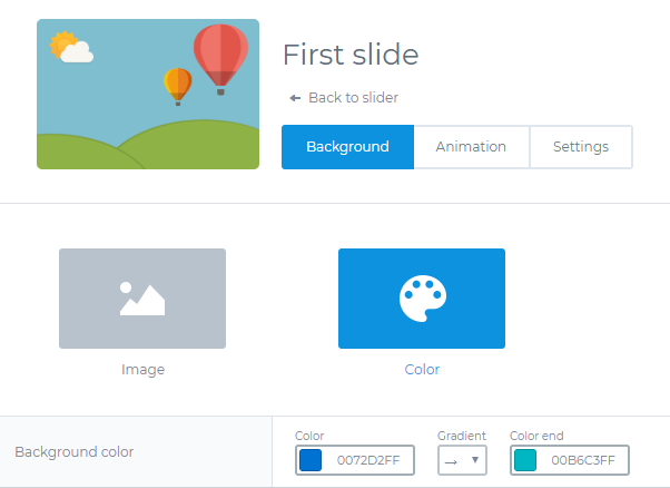 Add backgorund color to the Slider