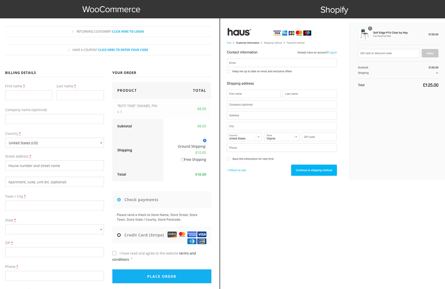Checkout Templates: WooCommerce vs. Shopify