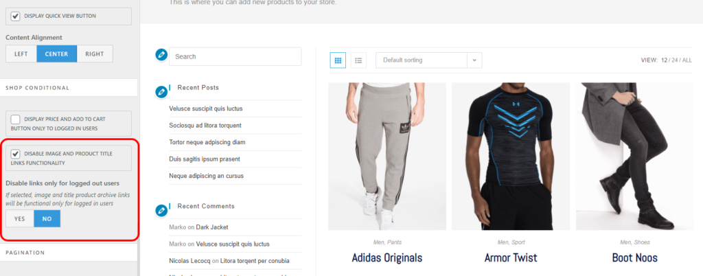 oceanwp theme settings to disable woocommerce archive and product category pages image and title links