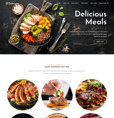 page overview of the OceanWP ecommerce website demo template called Delicious
