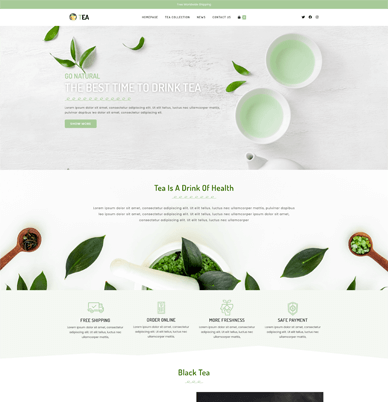 website front page overview of the OceanWP website demo template called Tea