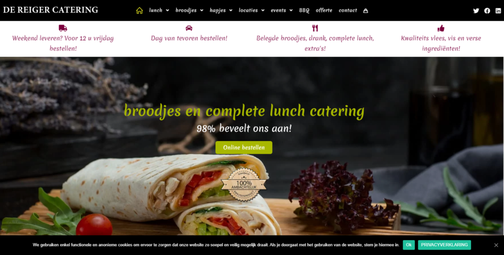 front page overview of an ecommerce business catering website created with OceanWP free WordPress theme